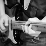 Jamie recording guitar solos.