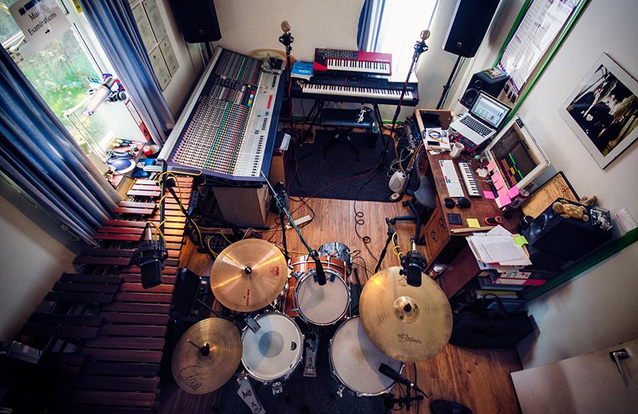 Recording drum tracks in the studio
