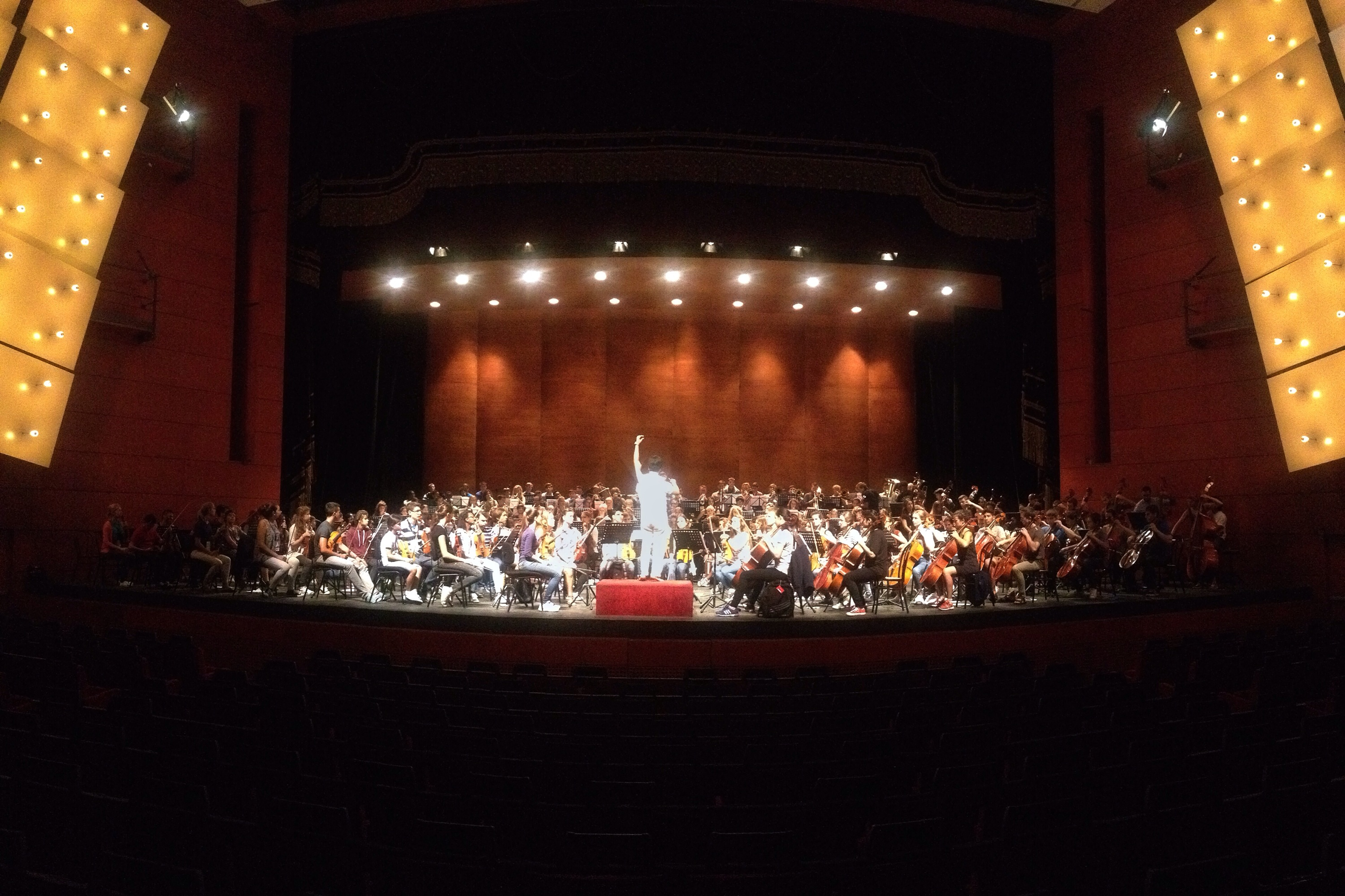 The full Sistema Europe Youth Orchestra playing together for the first time in Teatro degli Arcimboldi