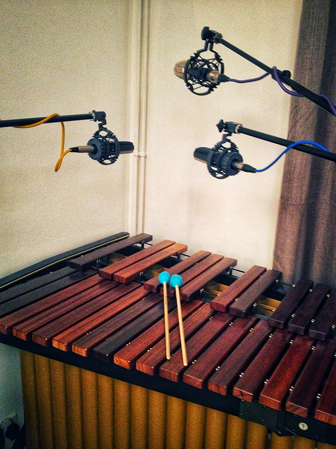 Soundtrack recording session on marimba
